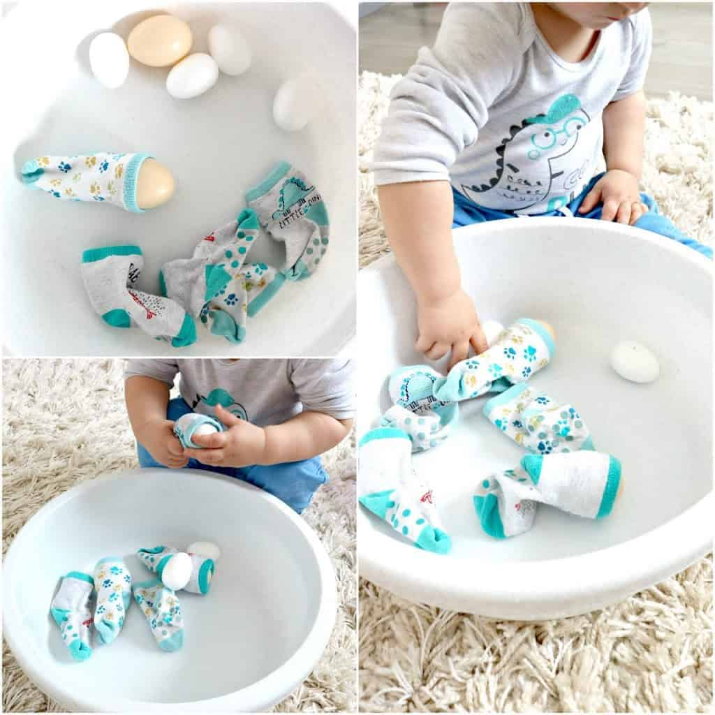 eggs in socks in a bowl toddler activity