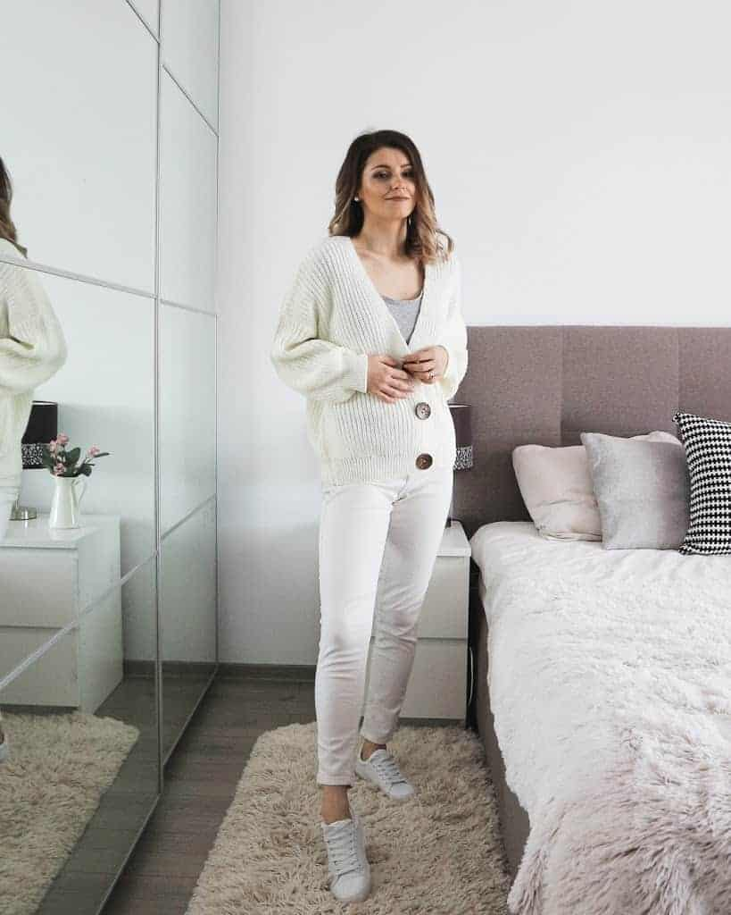 all white outfit with statement buttons cardigan
