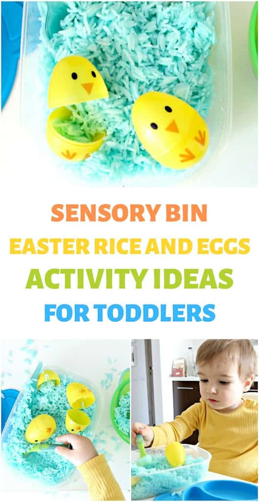 sensory bin with rice and eggs toddler Easter activity ideas