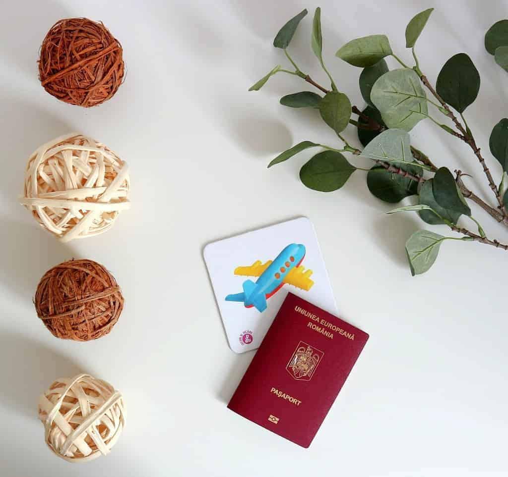 passport and plane flashcard flatlay