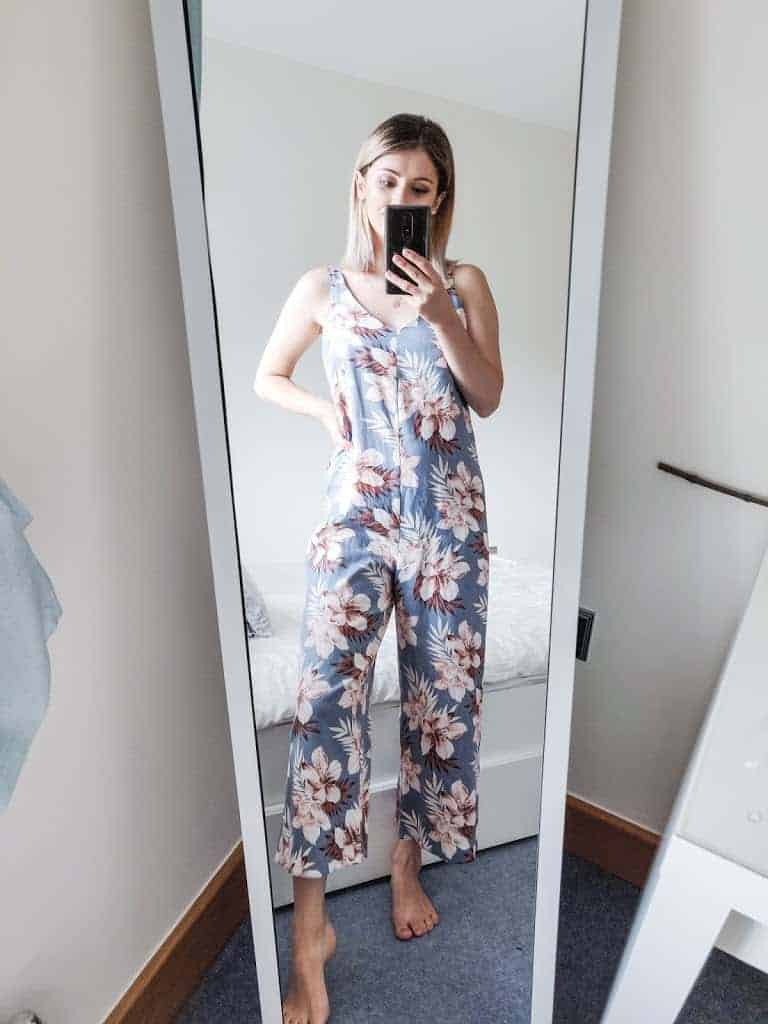 floral jumpsuit outfit in mirror