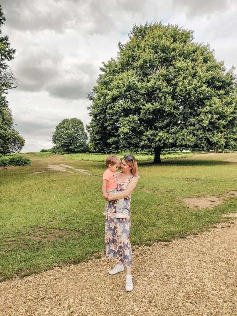 mom and son in Richmond Park in London