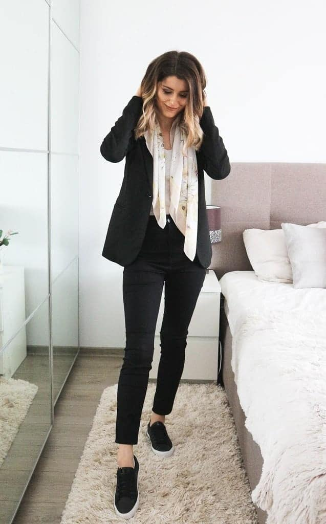 black trousers and black blazer with yellow scarf outfit ideas