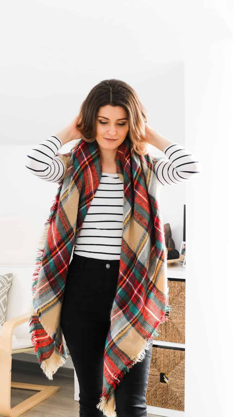 blanket scarf and stripes outfit for autumn winter style
