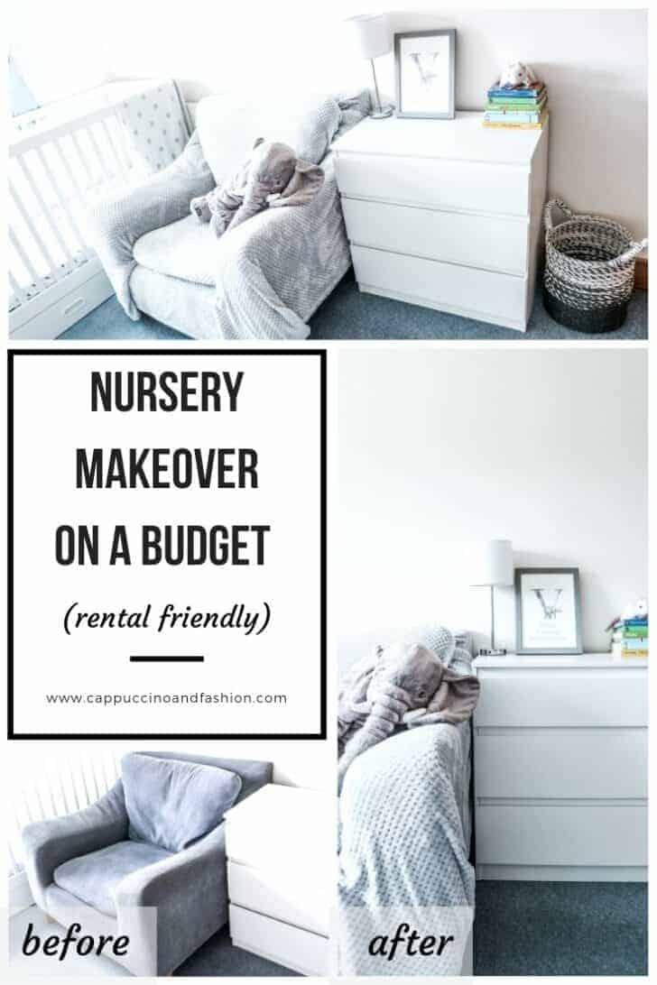 nursery makeover on a budget rental friendly