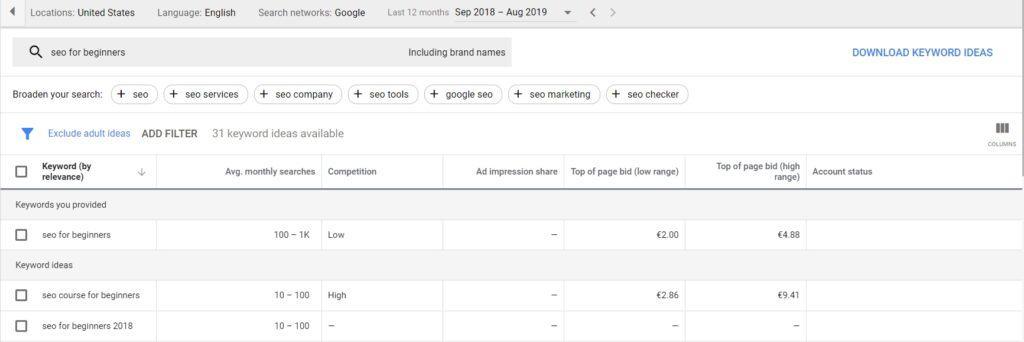 keyword search example in google keyword planner