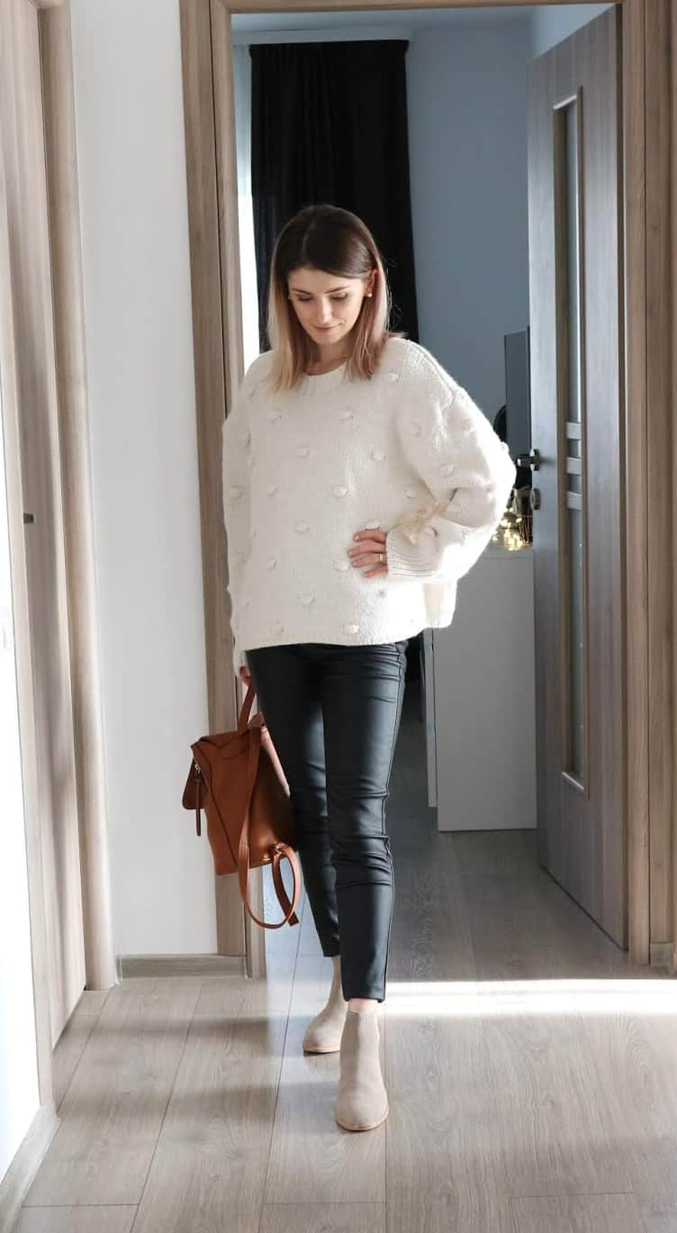 off-white pompom Zara knitwear sweater with coated trousers for fall and winter
