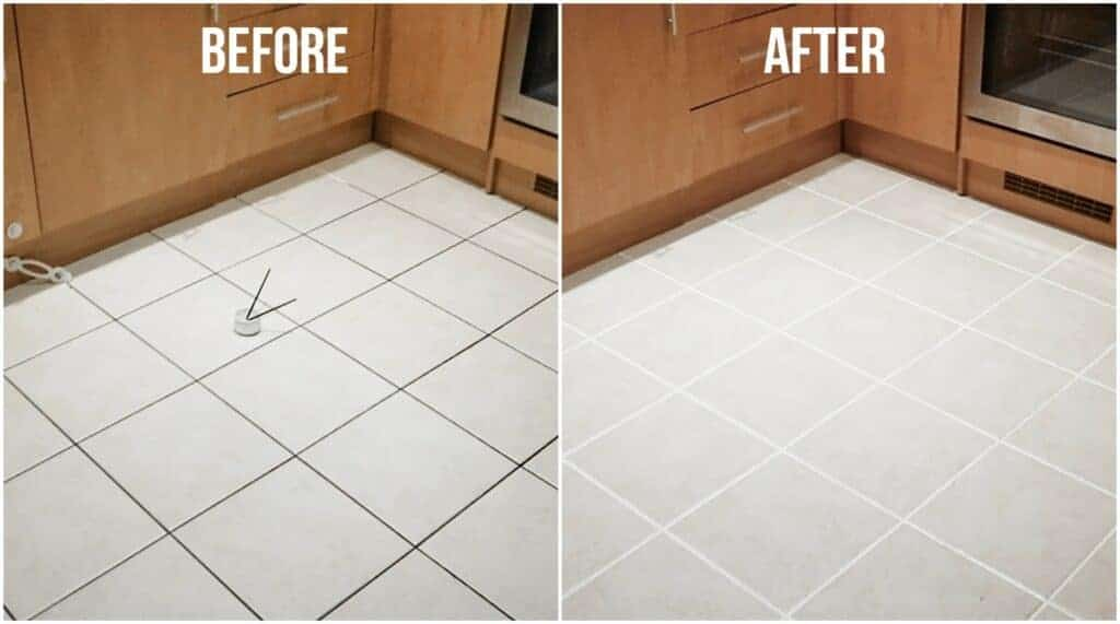 before and after using grout reviver on kitchen floor