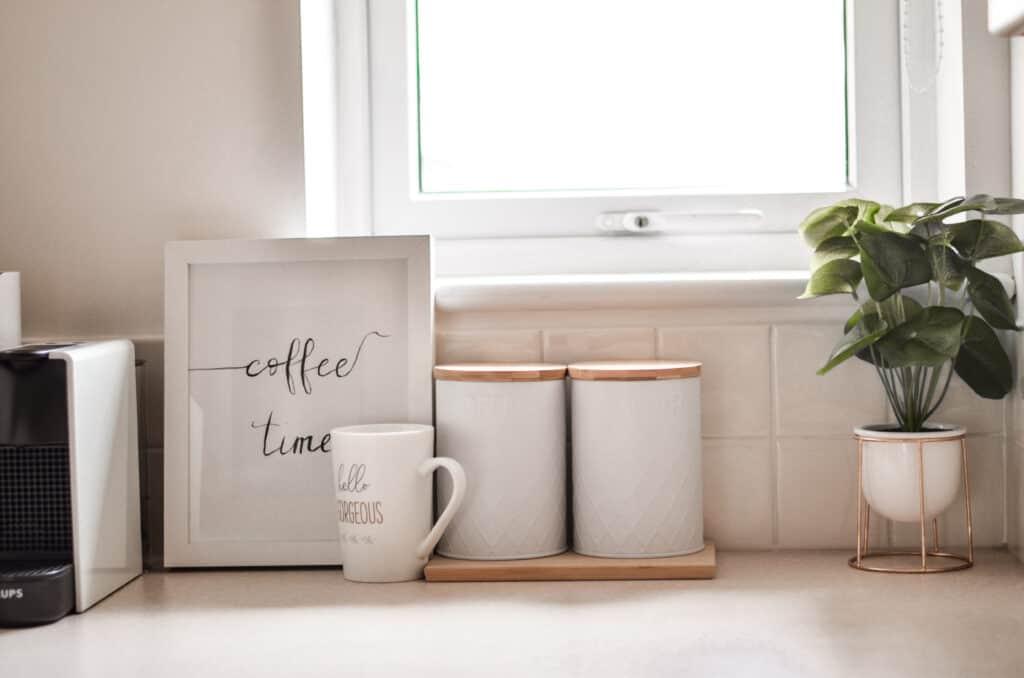 coffee bar corner in a rental kitchen