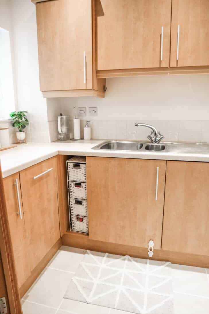 sink corner of kitchen with plant and minimal decor