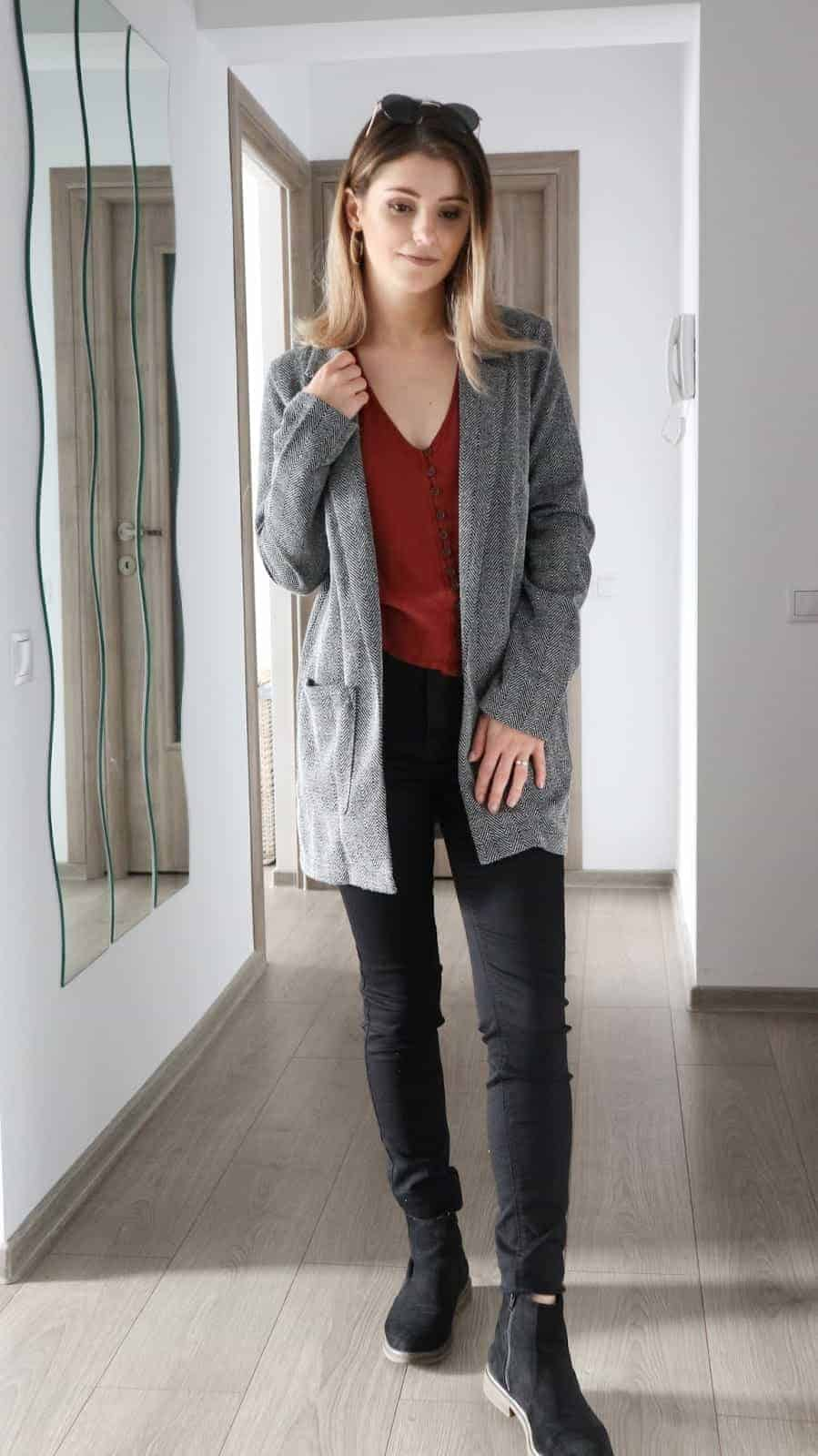 textured blazer and rust autumn blouse to style black jeans outfits