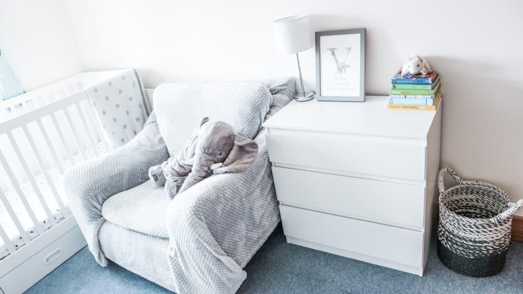 white and grey toned boy nursery
