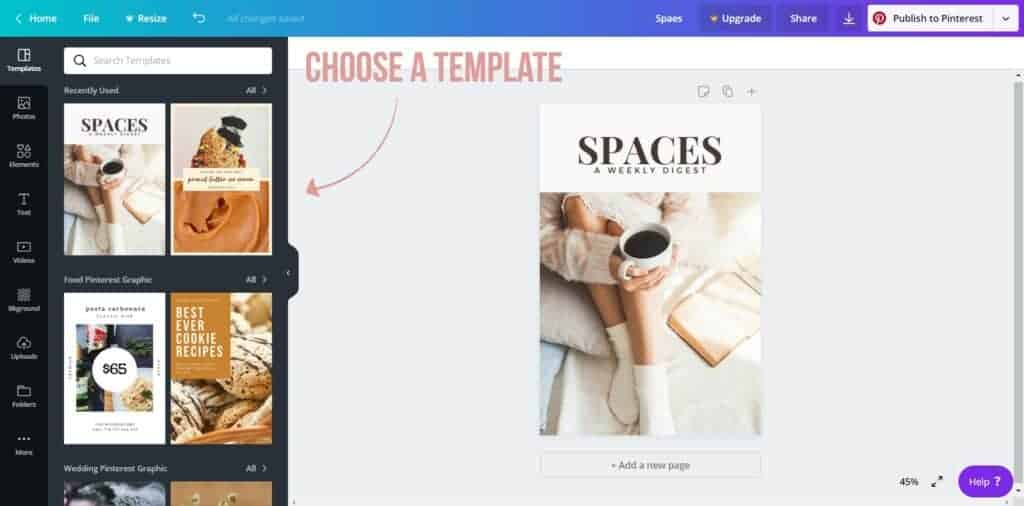 choose a template - how to create a pinterest pin