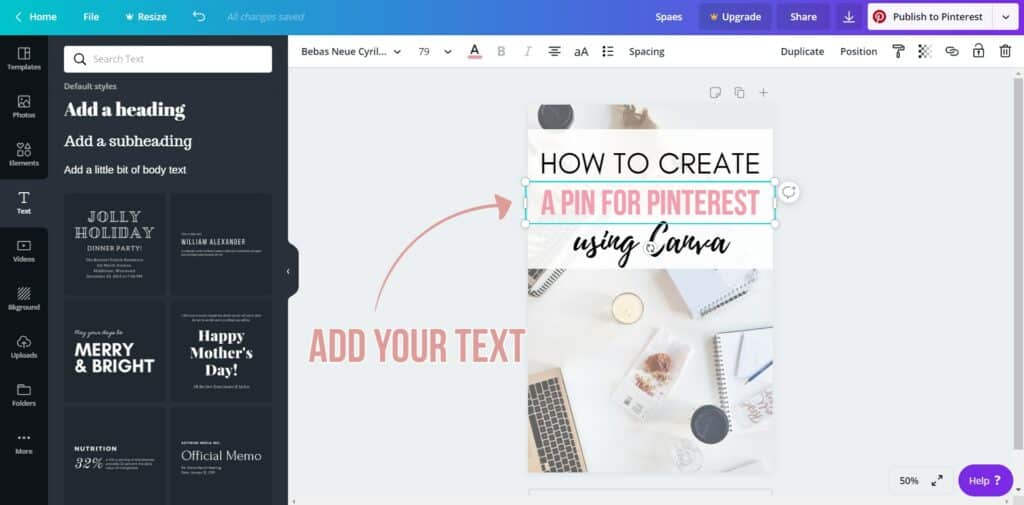 how to create a pin for pinterest using canva