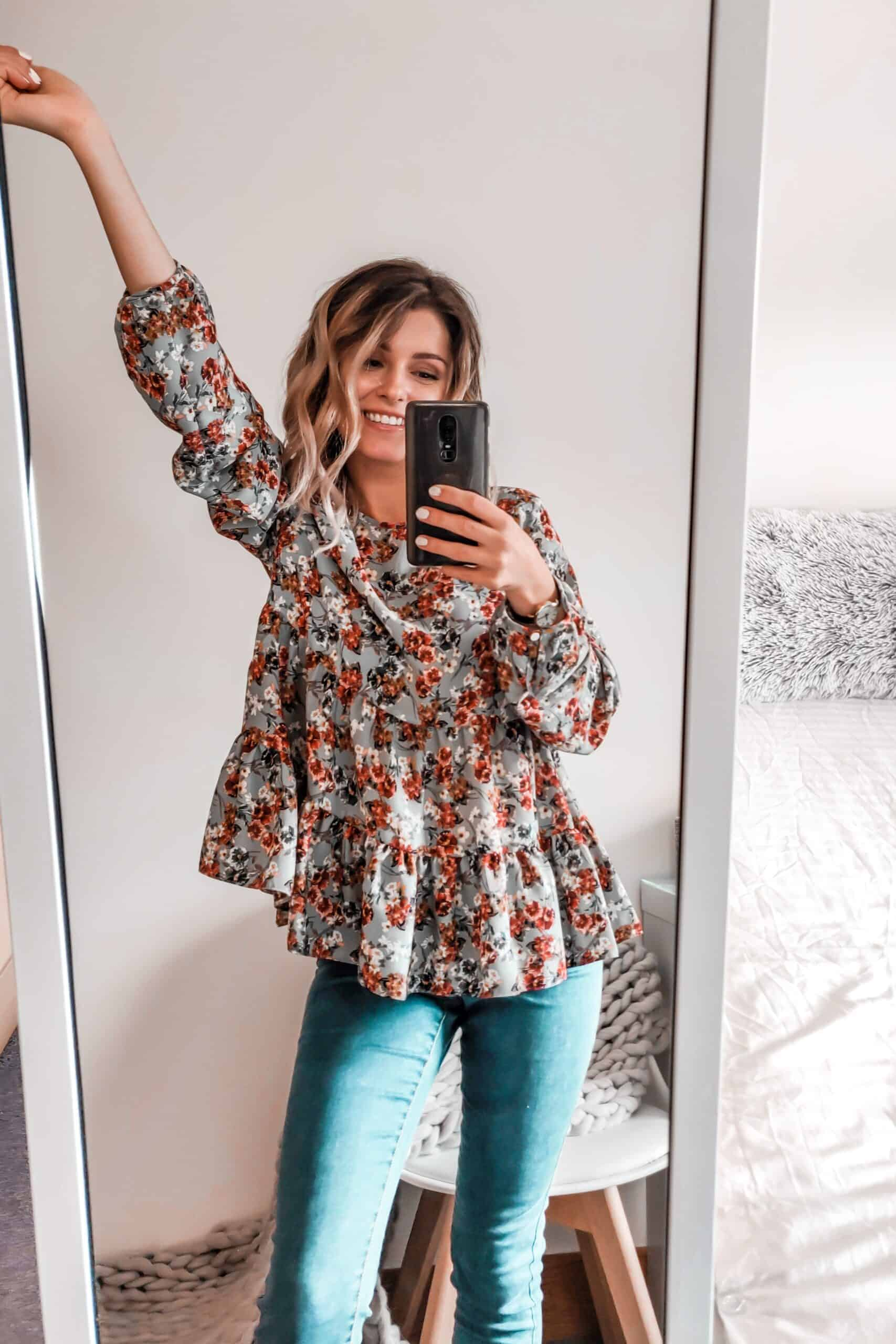 floral autumn blouse with light wash jeans Primark outfit