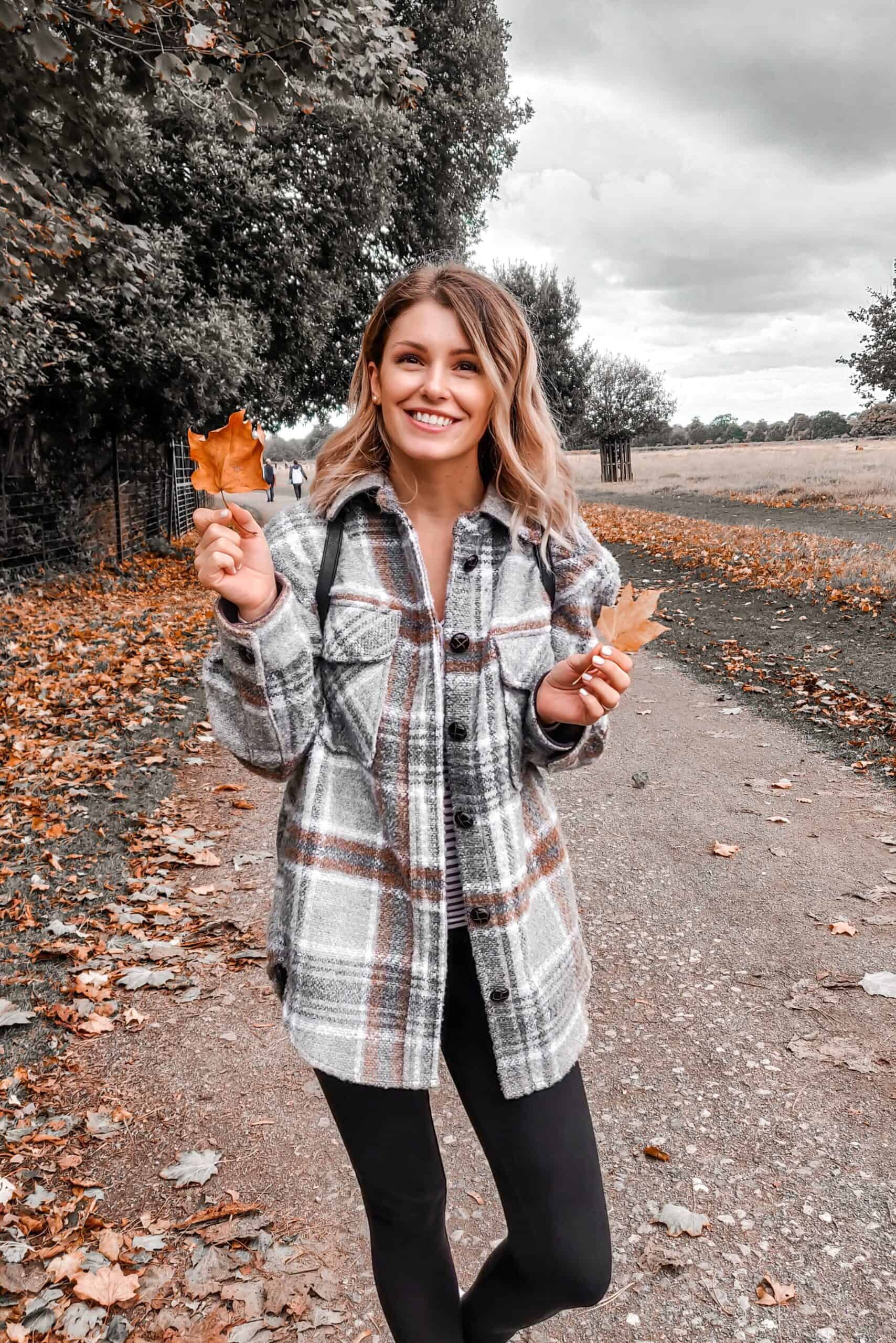 autumn checked jacket with leaves in Bushy Park London
