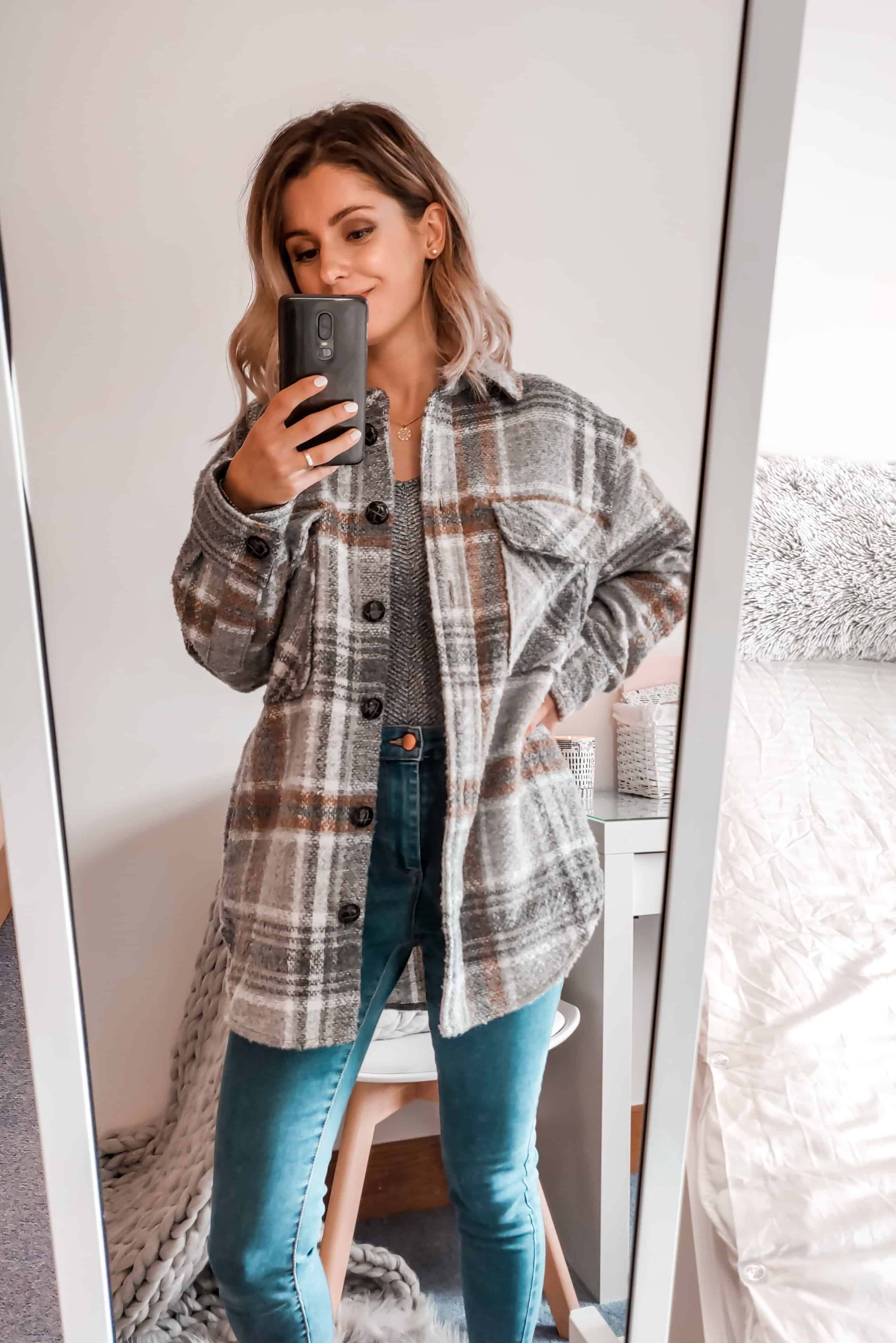 Primark checked grey jacket with jeans outfit