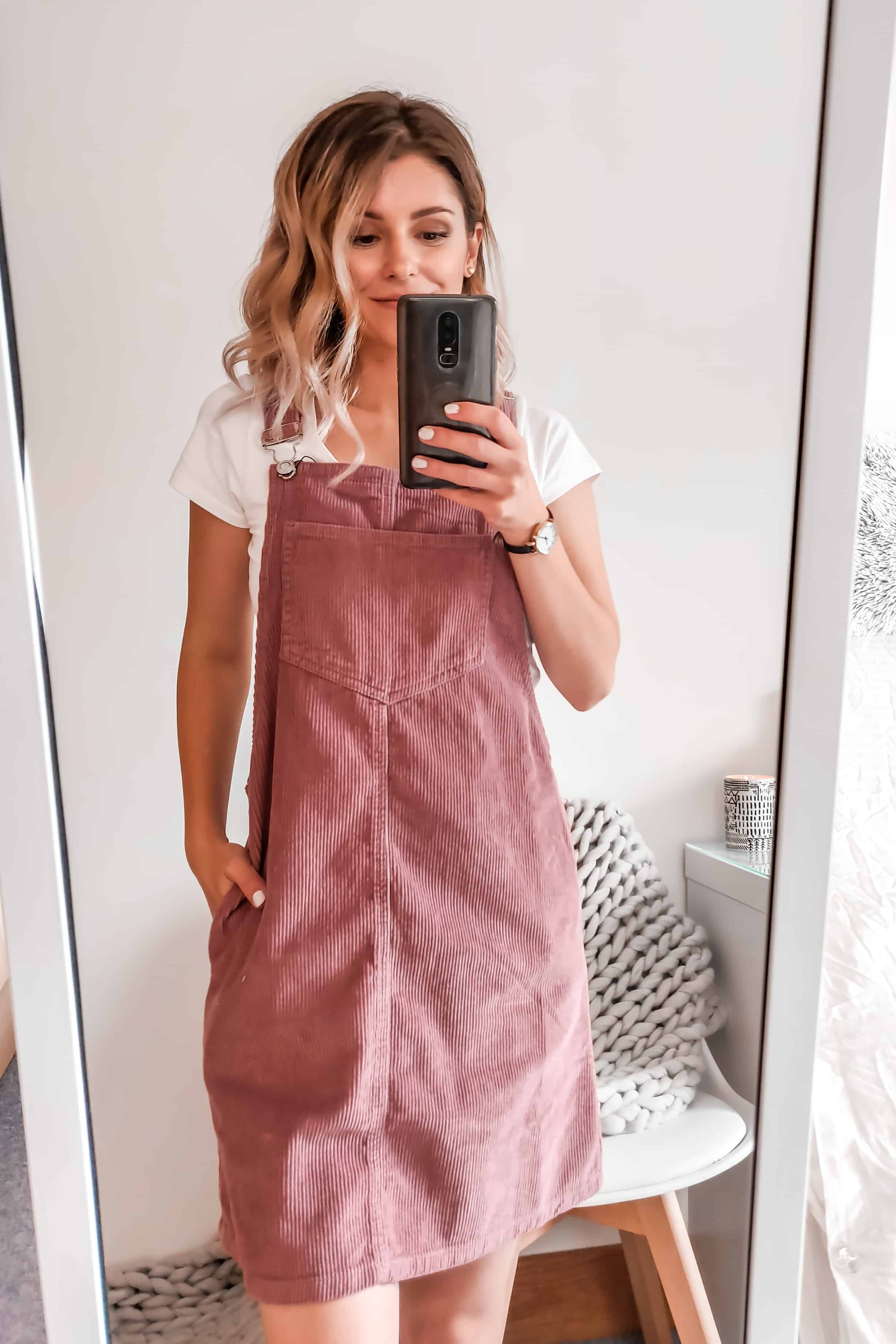 dusty pink pinafore dress Primark style