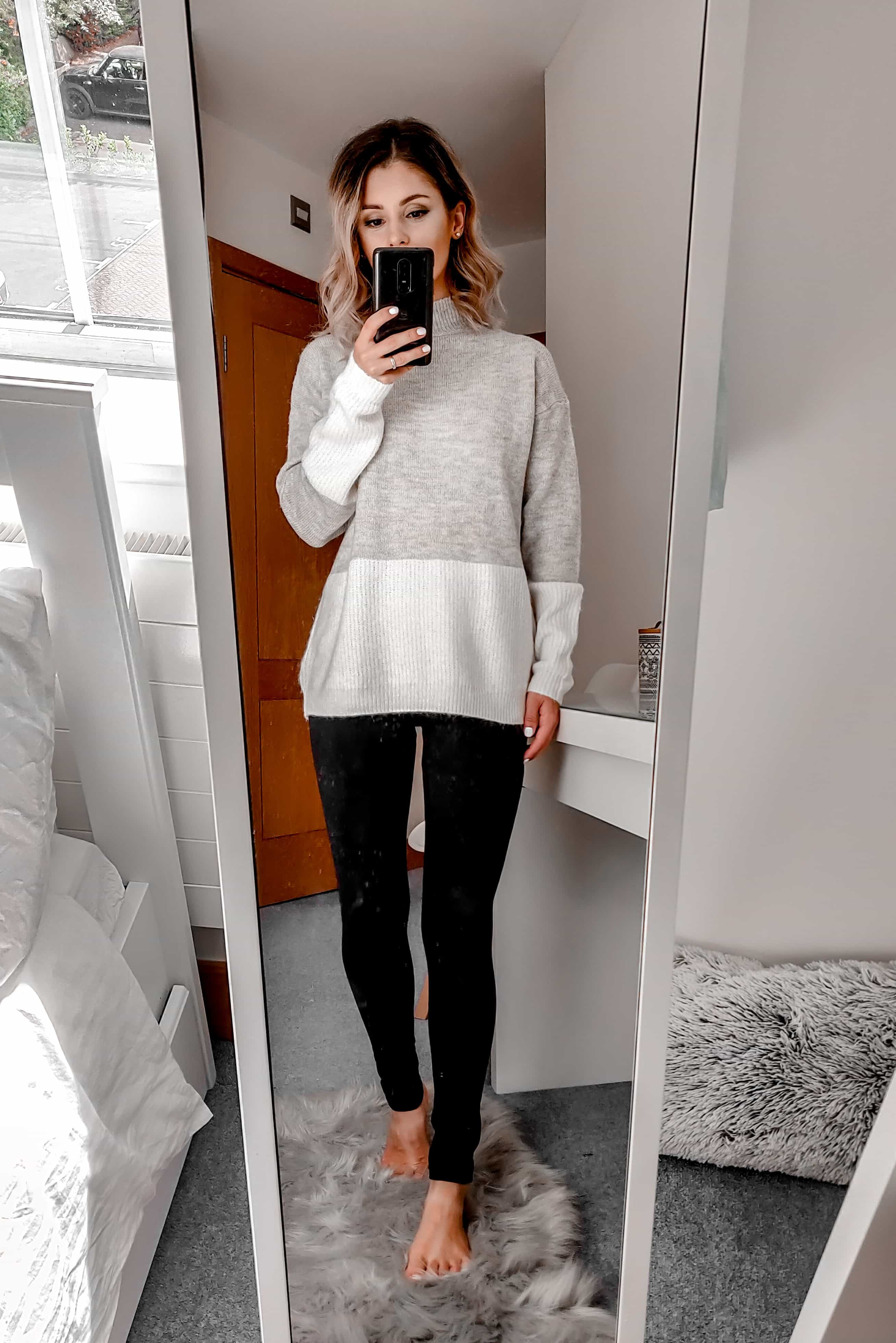 grey and cream sweater with leggings Primark outfit