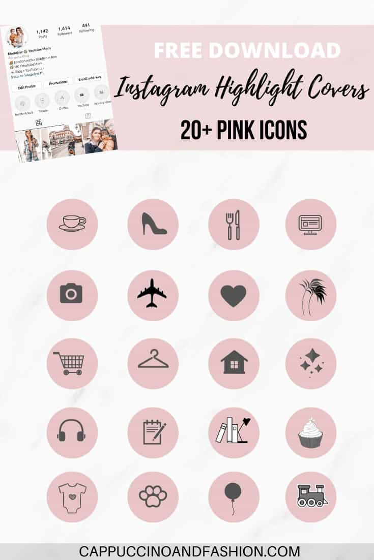 free download instagram highlight covers pink black icons
