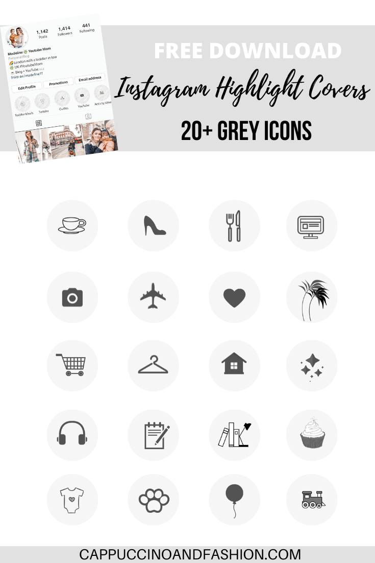 free download instagram highlight covers 20 grey icons