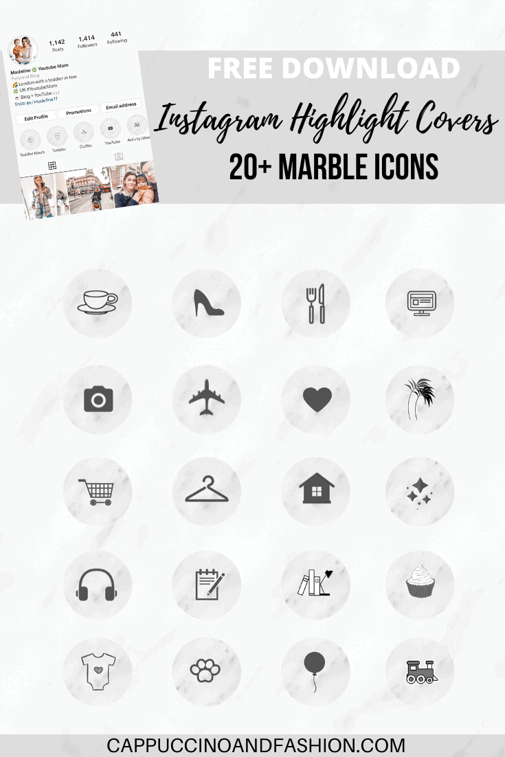 free download instagram highlight covers marble icons