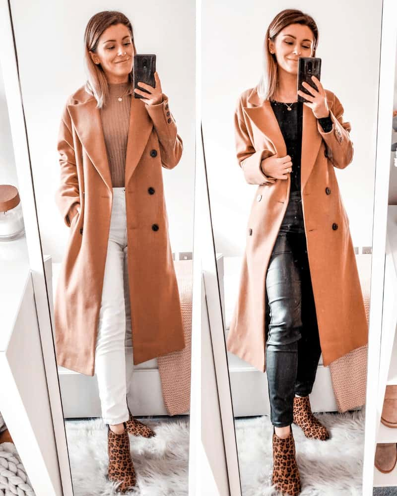 camel tones outfits - coat outfit for fall winter fashion primark