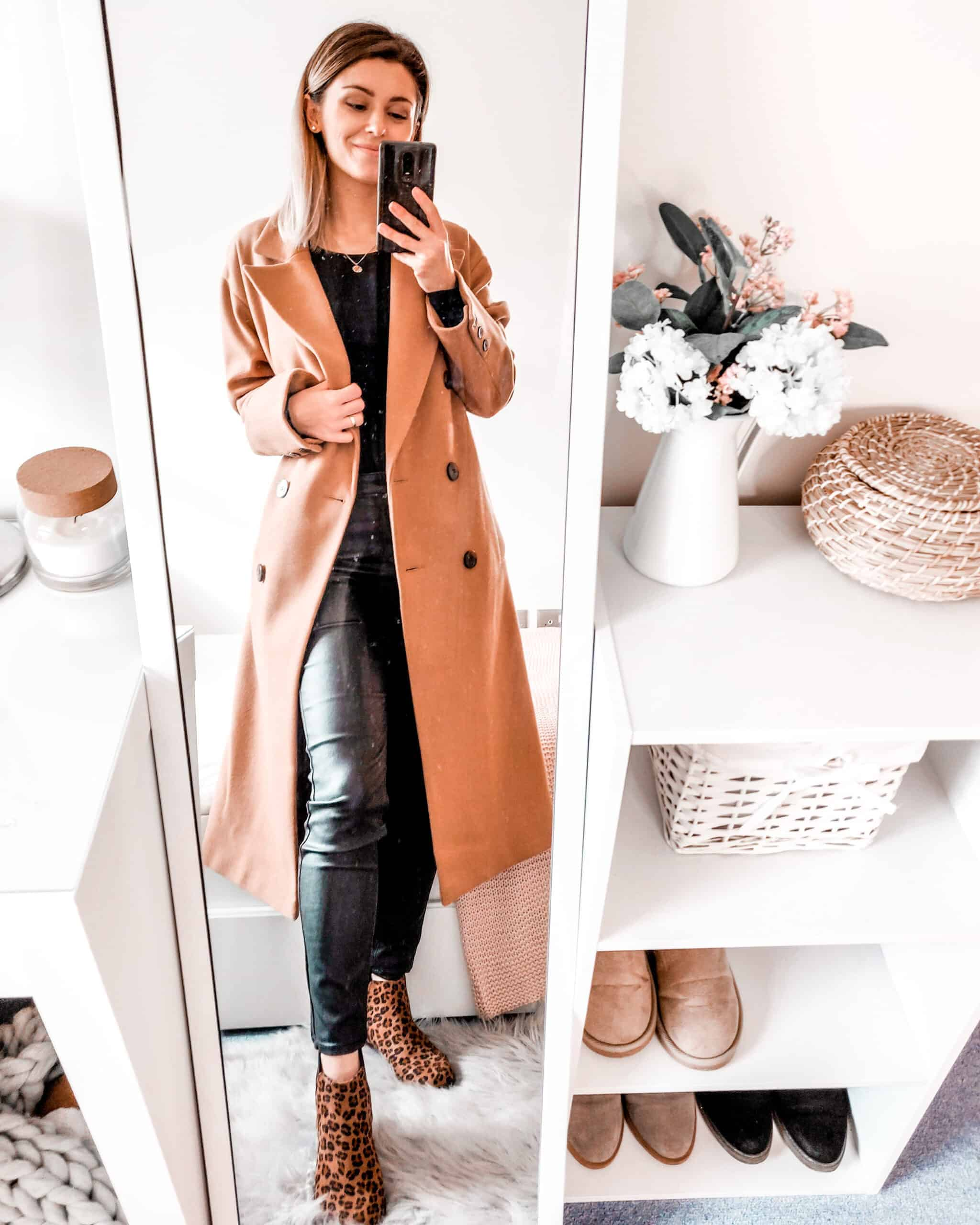 camel coat and black outfit for fall winter fashion primark