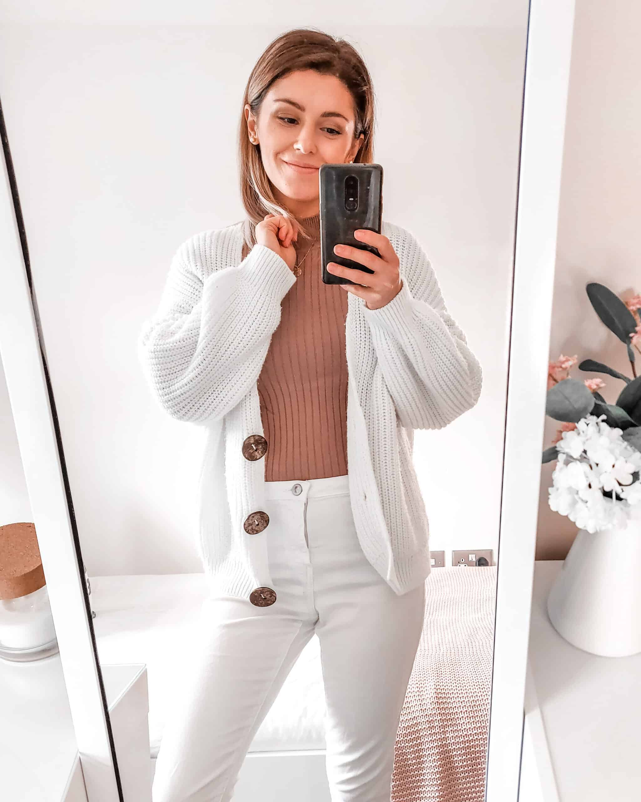 all white with camel ribbed jumper fall winter outfits fashion primark asos