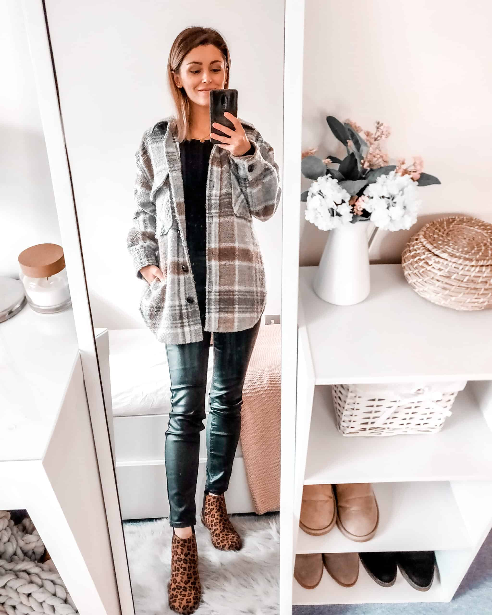 Primark check jacket with all black outfit and leopard print boots