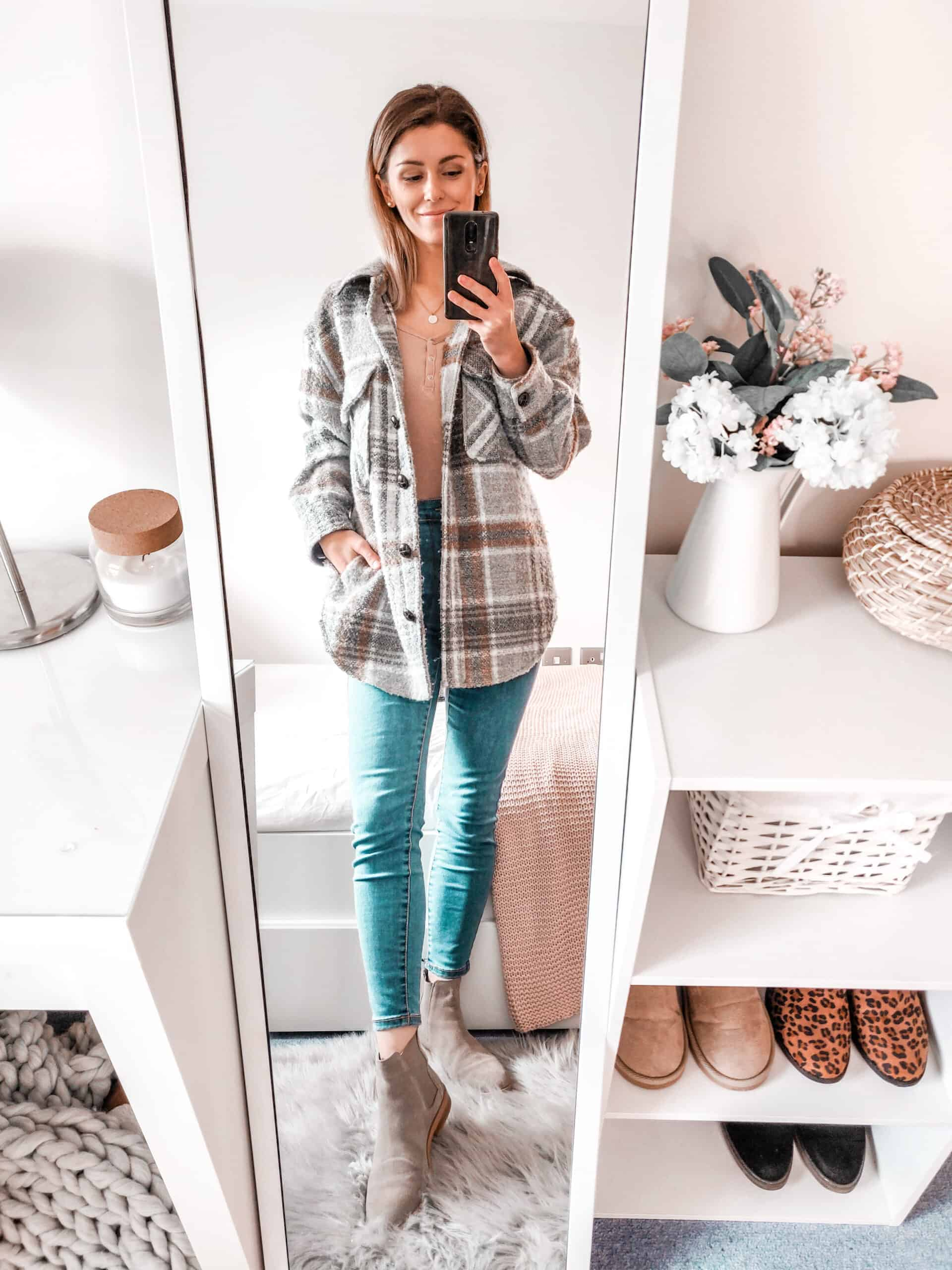 Primark check jacket outfit for autumn winter fashion