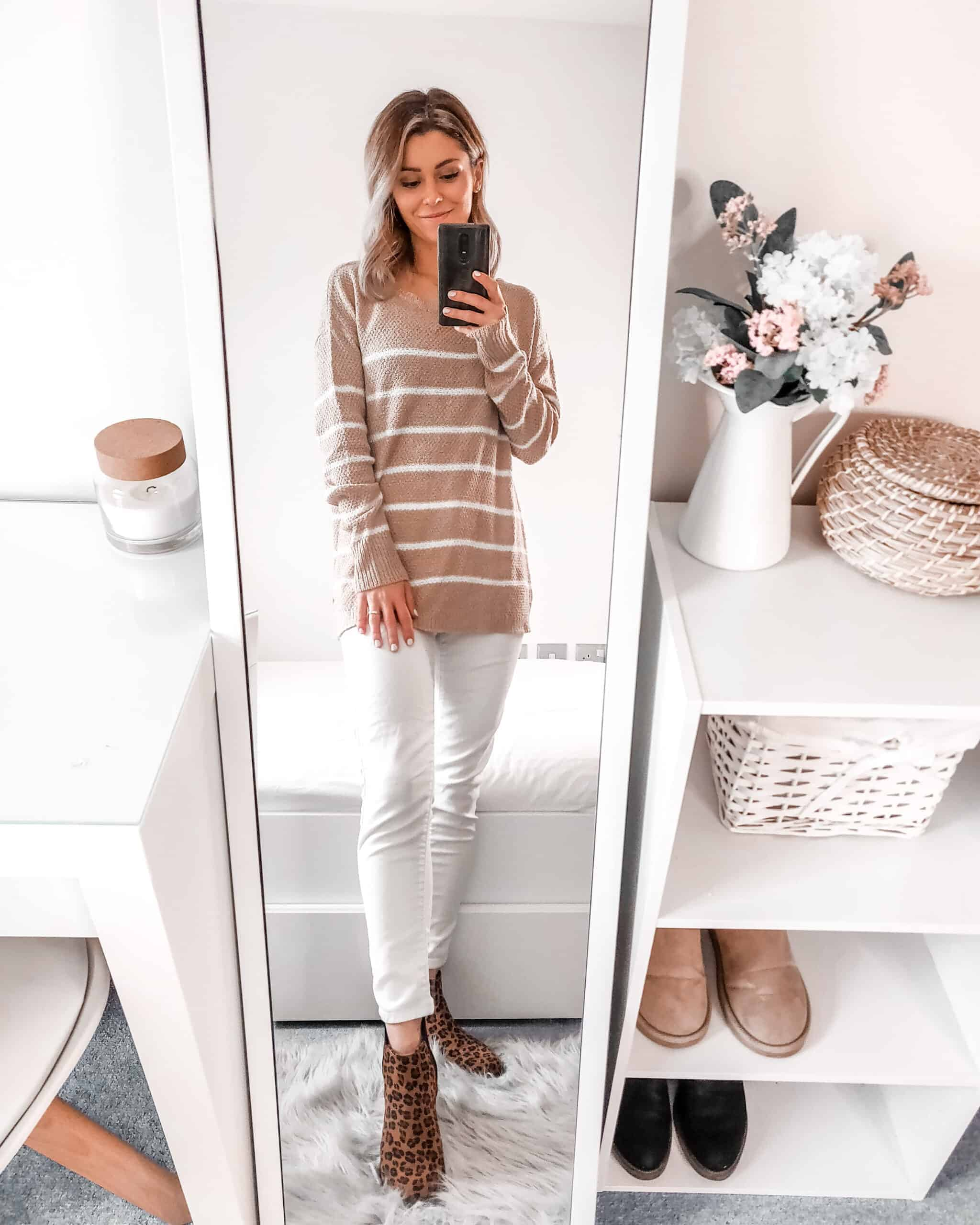 camel tones - striped camel fine knit jumper Shop Pink Blush fall winter outfit