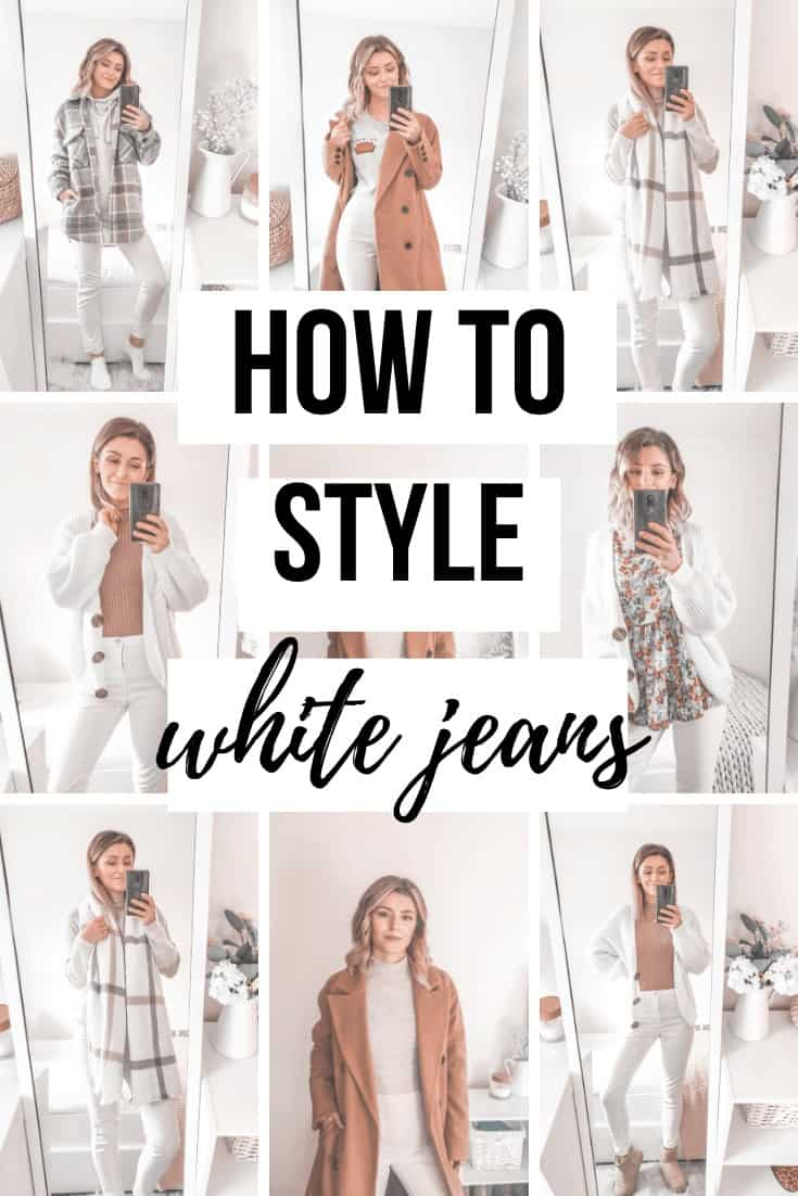 how to wear and style white jeans in fall winter