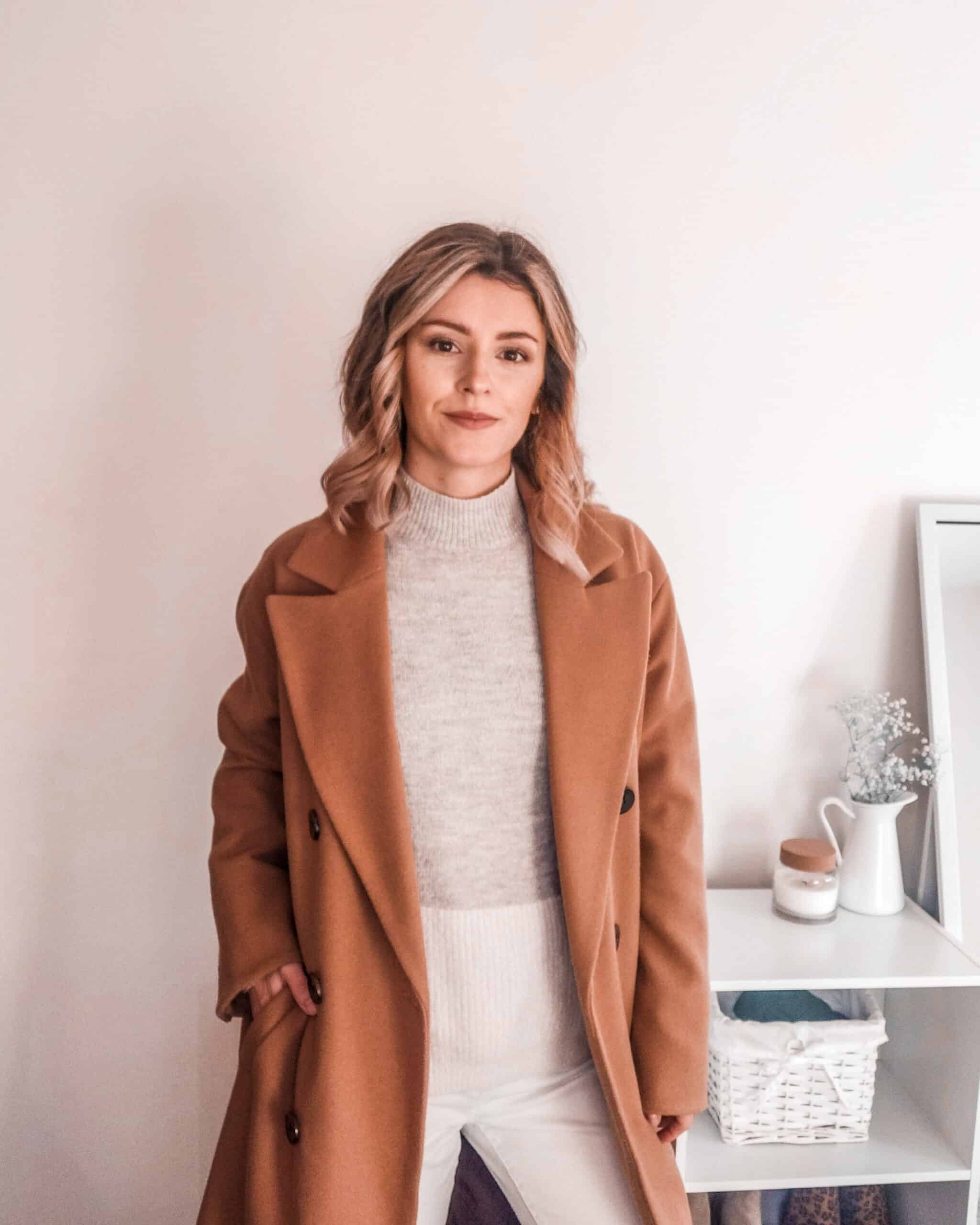 camel coat outfit for fall winter fashion primark