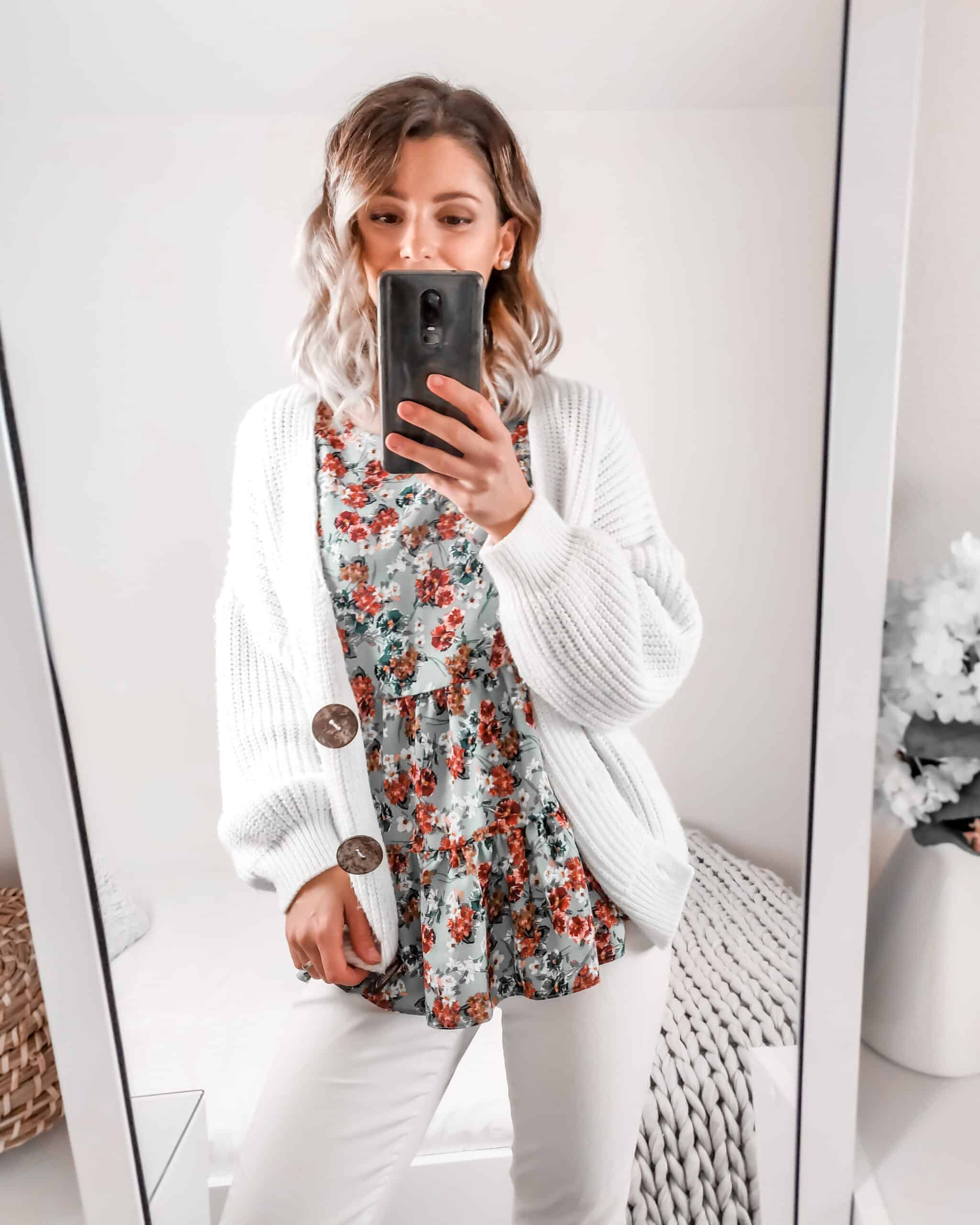 white jeans white cardigan and floral autumn blouse primark outfit