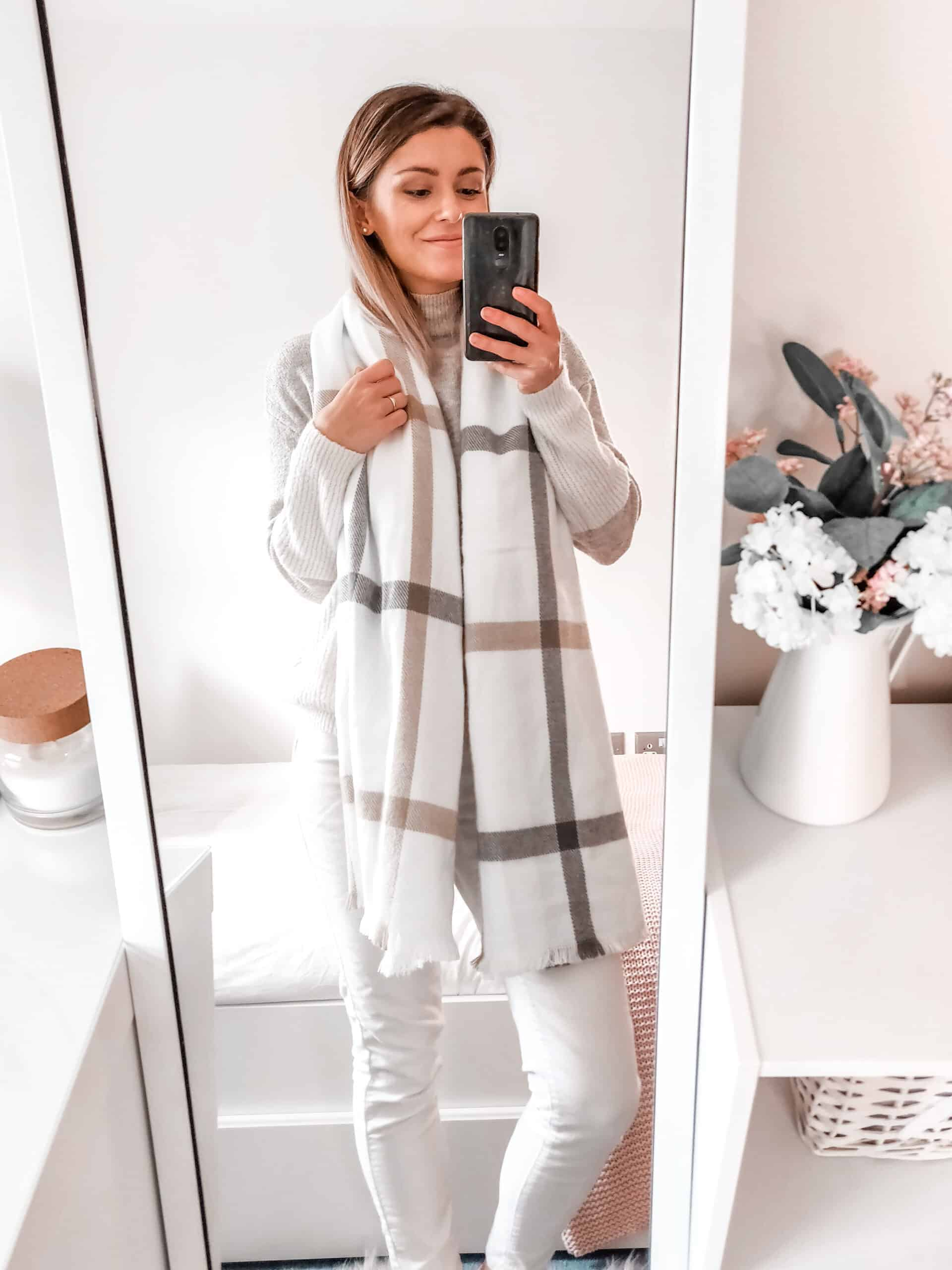 primark winter outfit all white and camel style