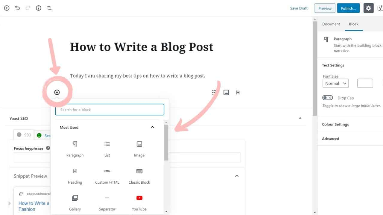 how to write your first blog post in wordpress