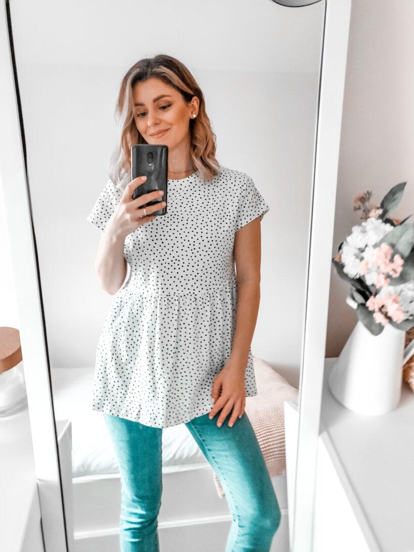 primark fashion 2020 polka dot white top with skinny jeans