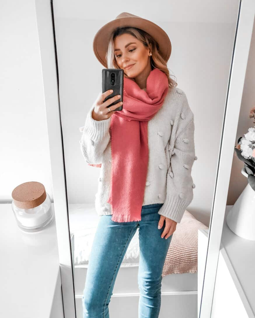 outfit with pink scarf camel hat and pompom sweater Zara