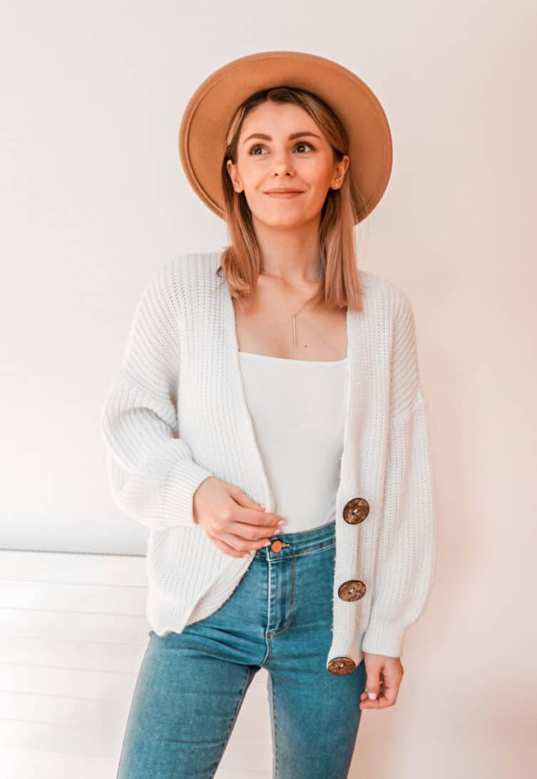 wool felt hat chunky cardigan primark asos outfit