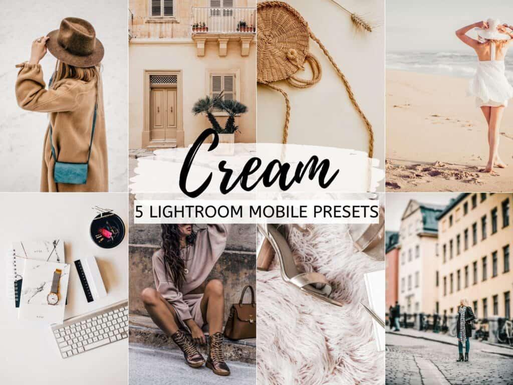 cream bright crisp moody lightroom mobile presets