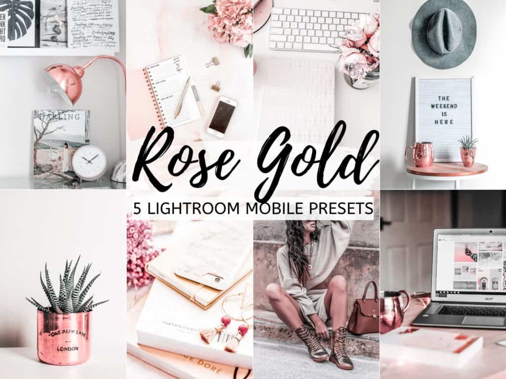 rose gold bright airy lightroom presets