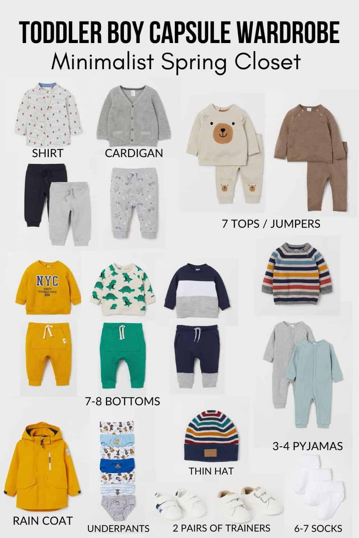 toddler boy capsule wardrobe minimalist spring closet h&m