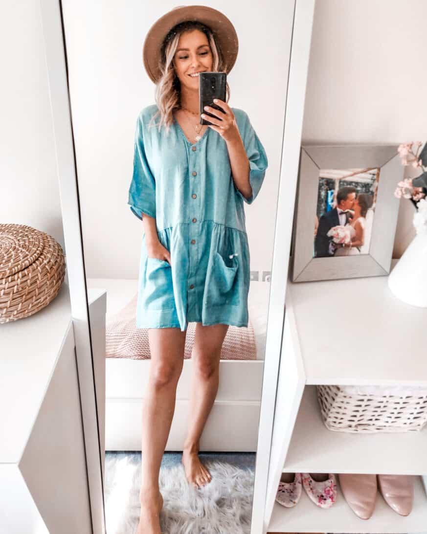 Chambray denim smock dress Boohoo outfit