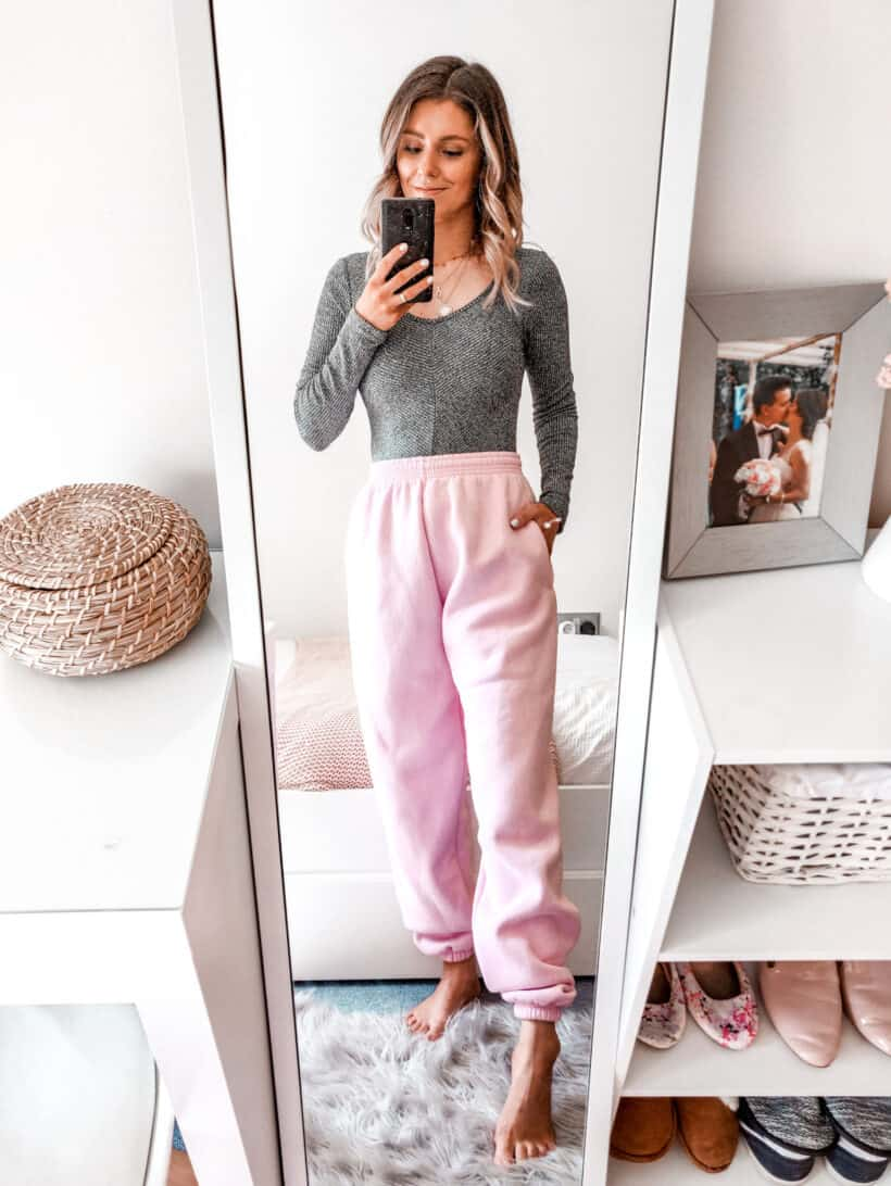 Pink joggers casual loungewear outfit Boohoo in the house