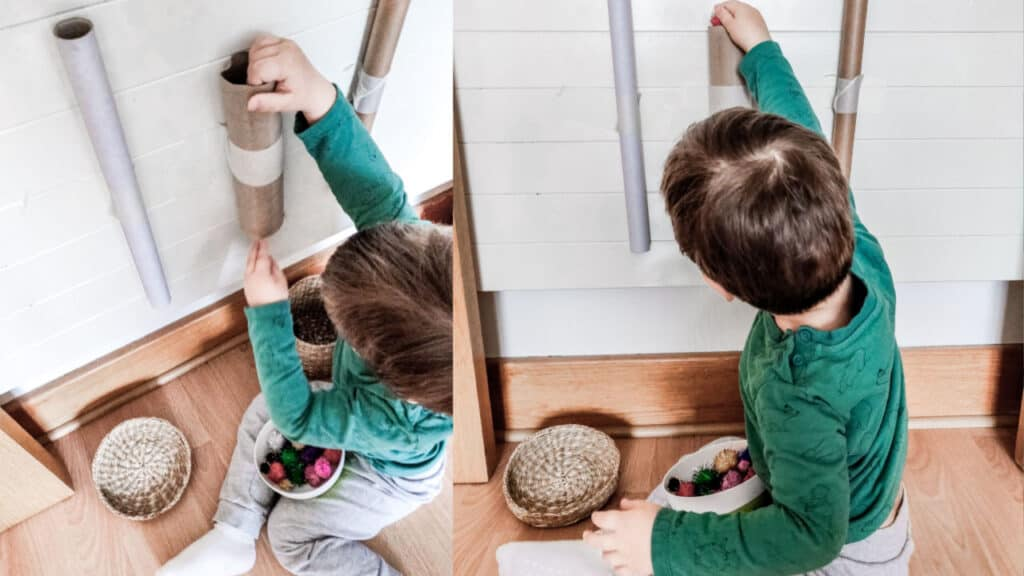 pompom roll toddler activities at home