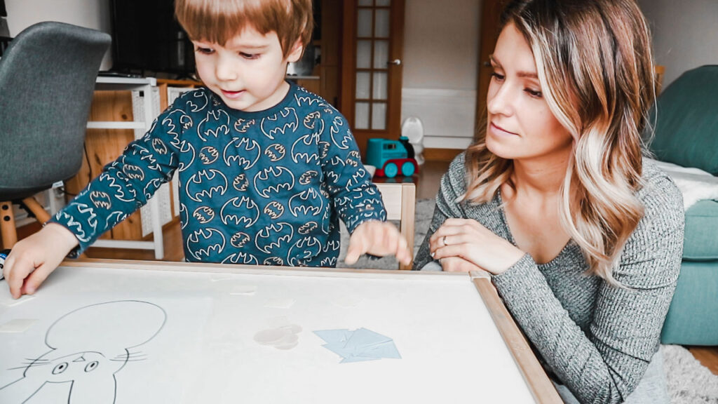 shapes colors sticking toddler activities at home