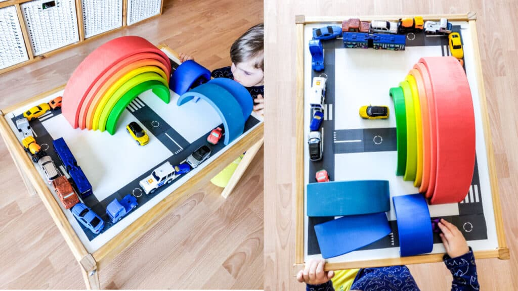 car road tape and rainbow toddler play