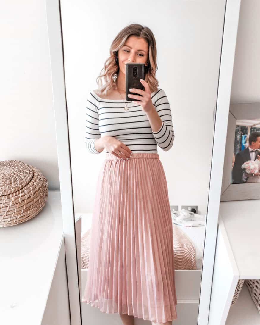 H&M pink pleated midi skirt summer outfit