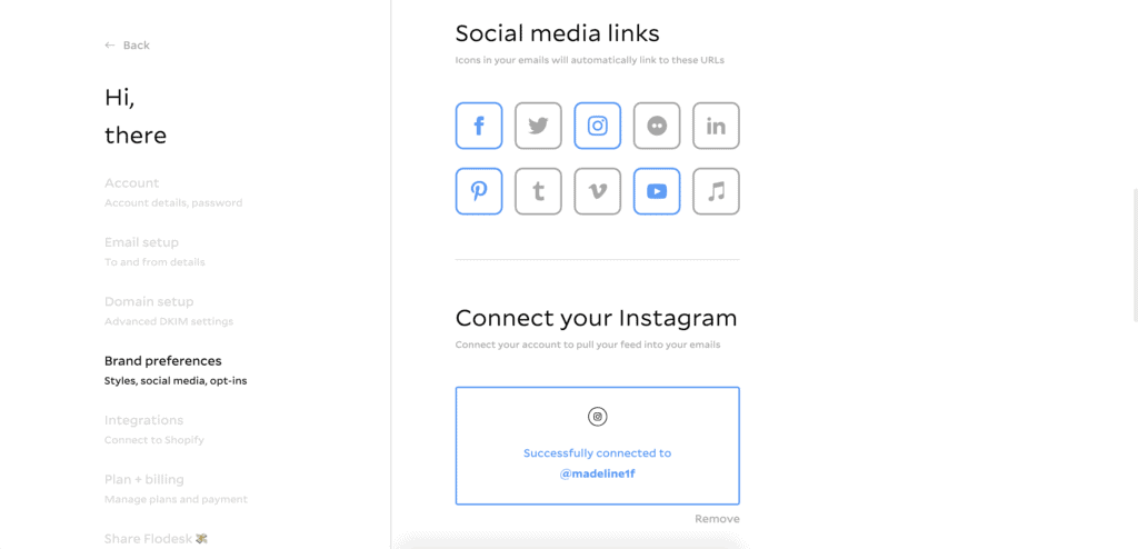 How to add social media and Instagram to Flodesk